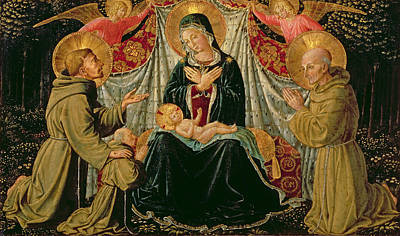 Franciscan Painting - Madonna And Child With St Francis And The Donor Fra Jacopo Da Montefalco Left And St Bernardino by Benozzo di Lese di Sandro Gozzoli