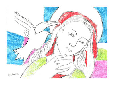 Immaculate Drawing - Madonna And Dove by Kippax Williams