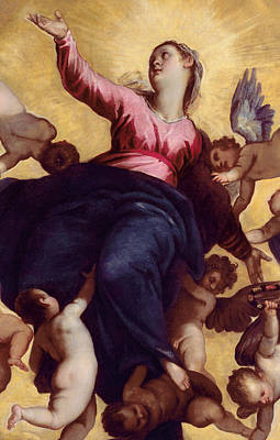 Cherub Painting - Madonna Carried By Angels by Palma Il Giovane