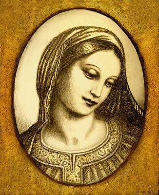 Orthodox Icon Mixed Media - Madonna Face  by Ananda Vdovic