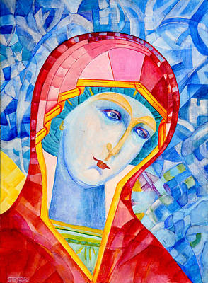 Our Lady Of Sorrows. Madonna Icon Catholic Art Original by Magdalena Walulik