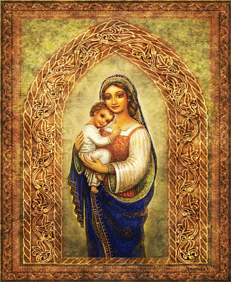 Art Print featuring the mixed media Madonna In An Arch by Ananda Vdovic