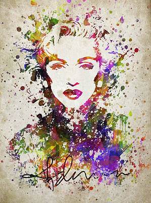 People Drawing - Madonna In Color by Aged Pixel