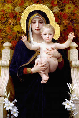 Child Jesus Painting - Madonna Of Lilies by Bouguereau
