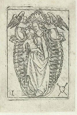 Grapes Drawing - Madonna On The Crescent Moon, Print Maker Meester Met Het by Litz Collection