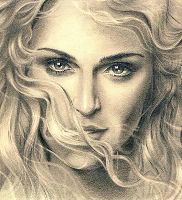Icon Drawing - Madonna Portrait by Martin Velebil