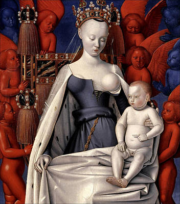 Seraphim Painting - Madonna Surrounded By Seraphim And Cherubim by Jean Fouquet
