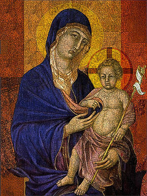 Estefan Mixed Media - Madonna With Child And Cross by Estefan Gargost
