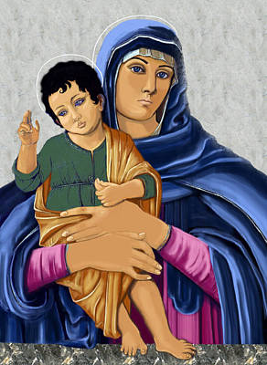 Painting - Madonna With Child Blessing by Karon Melillo DeVega