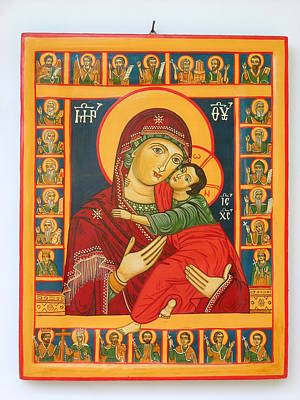 Greek Icon Painting - Madonna With Child Jesus Surrounded By Saints Hand Painted Wooden Orthodox Icon by Denise Clemenco