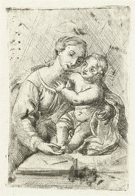 Rafa Drawing - Madonna With Child, Louis Bernard Coclers by Louis Bernard Coclers And Rafa?l