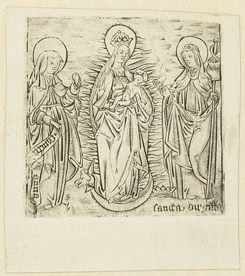 Madonna With Saint Anna And Brigitta, Anonymous Print by Anonymous