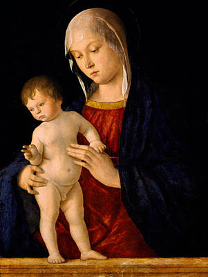Mary And Jesus Painting - Madonna With The Child Blessing by Giovanni Bellini