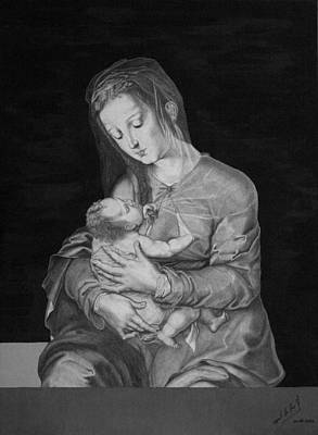 Madonna With The Child Art Print by Miguel Rodriguez