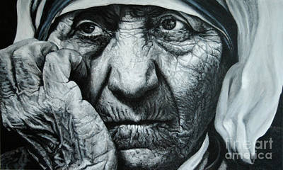 Mother Teresa - Painting Art Print by Stu Braks