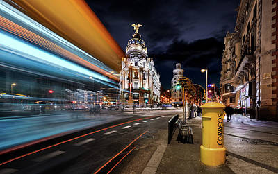Benches Photograph - Madrid City Lights IIi by Jes?s M. Garc?a