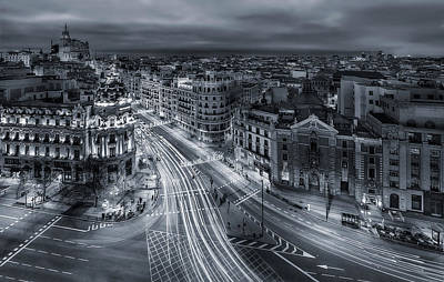Madrid City Lights Art Print
