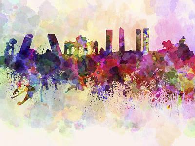Colorful Art Digital Art - Madrid Skyline In Watercolor Background by Pablo Romero