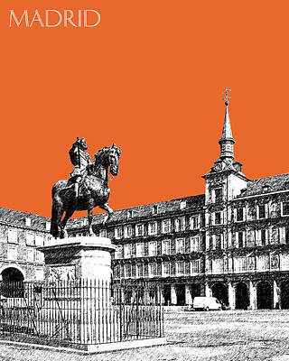 Madrid Skyline Plaza Mayor - Coral Art Print by DB Artist