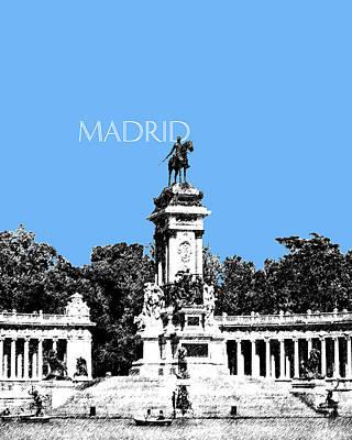 Pen Digital Art - Madrid Skyline Retiro Park - Light Blue by DB Artist