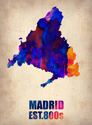 Spain Wall Art - Painting - Madrid Watercolor Map by Naxart Studio