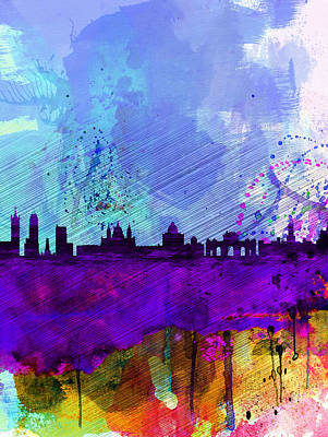 Scenic Painting - Madrid Watercolor Skyline by Naxart Studio