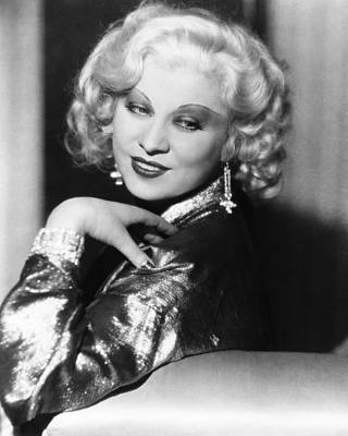 Chandelier Earrings Photograph - Mae West, Ca. 1935 by Everett