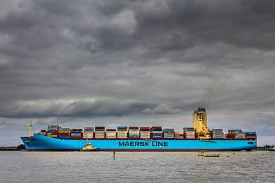 Art Print featuring the photograph Maersk Container Ship. by Gary Gillette