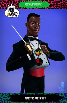 Hip Hop Digital Art - Maestro Fresh Wes Ntv Card by Nelson dedos Garcia