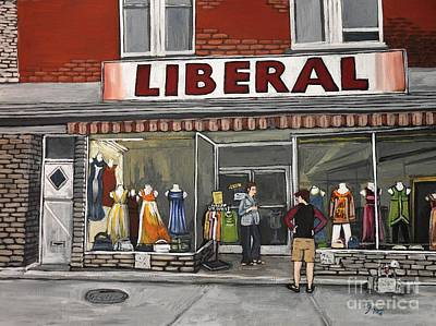 Store Fronts Painting - Magasin Liberal Notre Dame  by Reb Frost