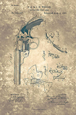Painting - Magazine Fire-arm - Patent From 1877 by Celestial Images