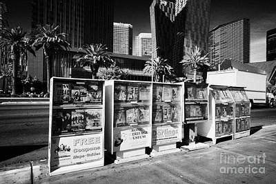 magazine stands free coupons guides and escort directories Las Vegas Nevada USA Art Print by Joe Fox