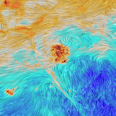 Satellite Image Photograph - Magellanic Clouds Magnetic Field by Planck Collaboration/esa