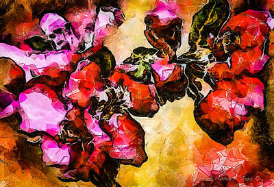 Digital Art - Magenta Flowers  -- Cubism by Charles Muhle