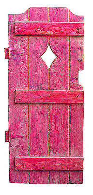 Mixed Media On Old Wooden Gate Sculpture - Magenta Pink Painted Garden Door by Asha Carolyn Young