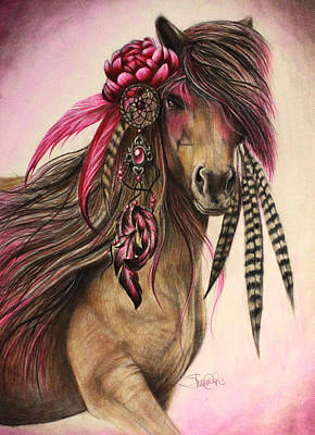 Wild Horses Drawing - Magenta Warrior  by Sheena Pike