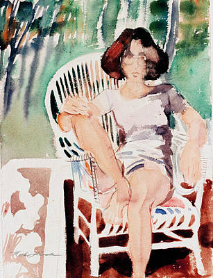 Painting - Maggie D. On A Patio by Mark Lunde