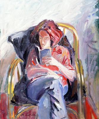 Bamboo Chair Painting - Maggie Reading by Mark Lunde