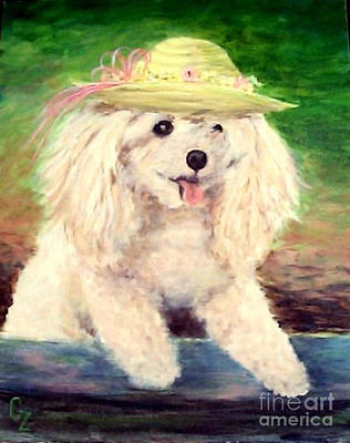 Painting - Maggie   Straw Hat by Nancy Czejkowski