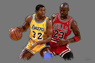 Magic Johnson Digital Art - Magic And Michael by Charley Pallos