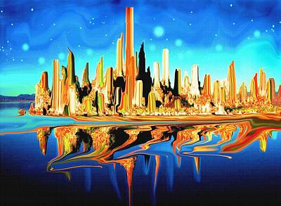 New York Skyline In Blue Orange - Abstract Art Art Print by Art America Gallery Peter Potter