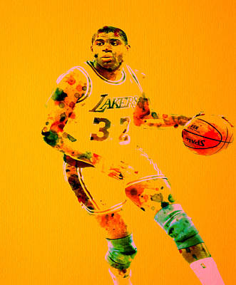 Magic Johnson Digital Art - Magic Johnson by Brian Reaves
