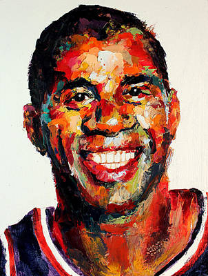 Magic Johnson Painting - Magic Johnson by Derek Russell