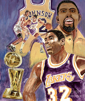 Larry Bird Painting - Magic Johnson by Israel Torres