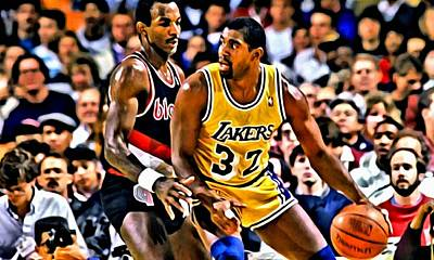 Magic Johnson Painting - Magic Johnson Vs Clyde Drexler by Florian Rodarte