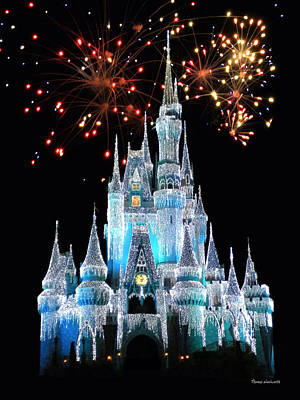 Magic Kingdom Castle In Frosty Light Blue With Fireworks 03 Art Print