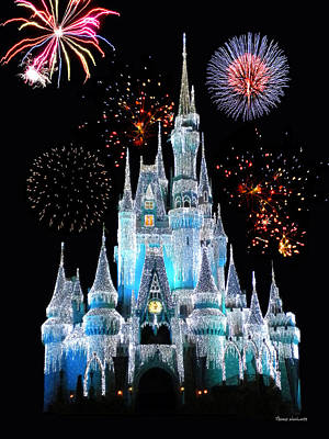 Photograph - Magic Kingdom Castle In Frosty Light Blue With Fireworks 06 by Thomas Woolworth