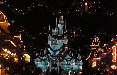 Magic Kingdom Xmas Castle In Frosty Light Blue Art Print