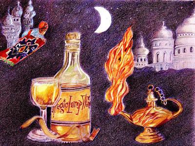 Persian Carpet Drawing - Magic Lamp Wine by Candace  Hardy