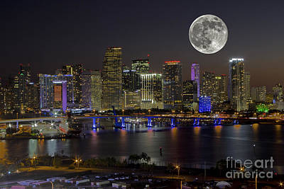 Miami Skyline Photograph - Magic Moon Over The Magic City by Rick Bravo